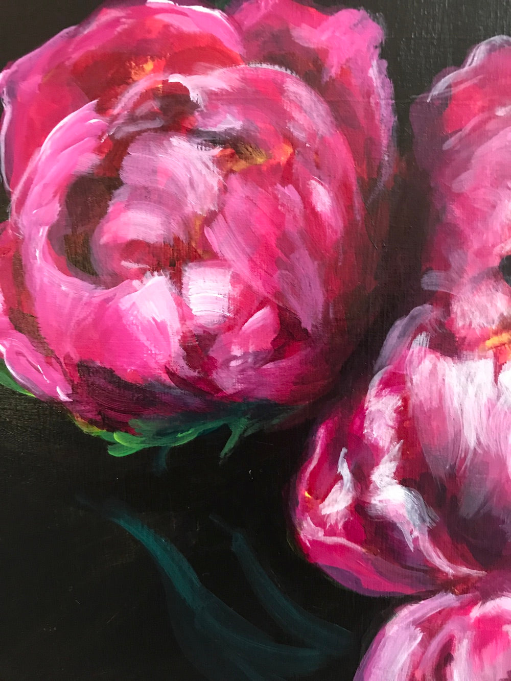 PEONIES BY MOONLIGHT | 16X20 | ORIGINAL ACRYLIC PAINTING ON WOOD | Item number 20-39P