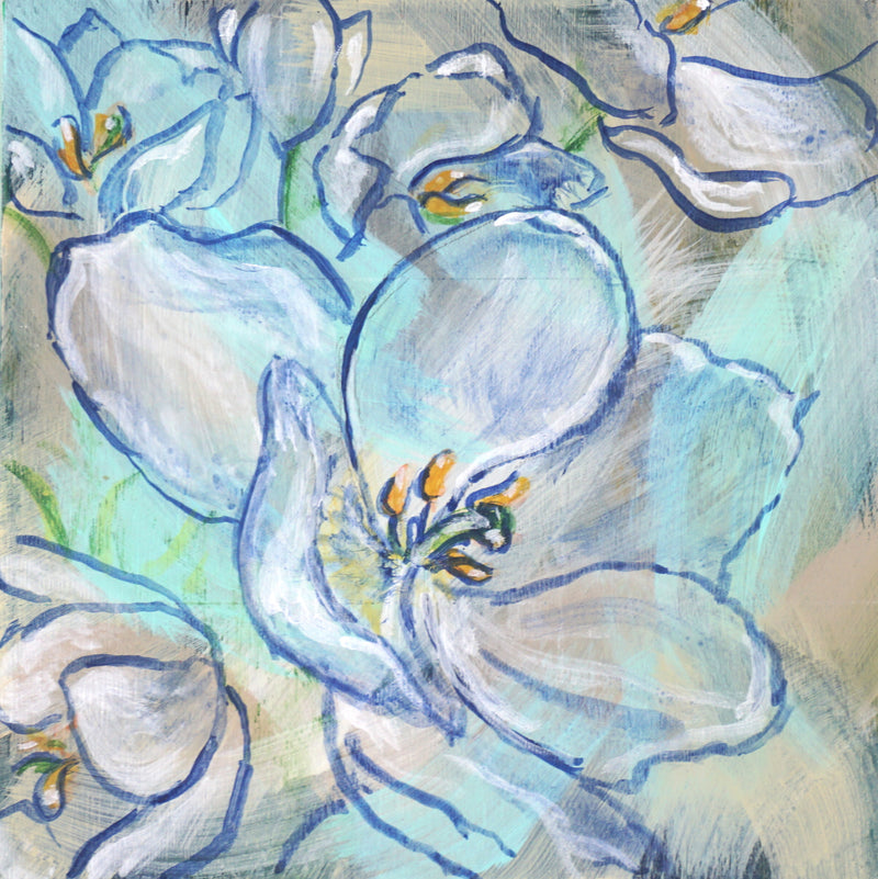 BLUE FLORAL | 5X5 | ORIGINAL ACRYLIC PAINTING ON WOOD | Item number 20-3P