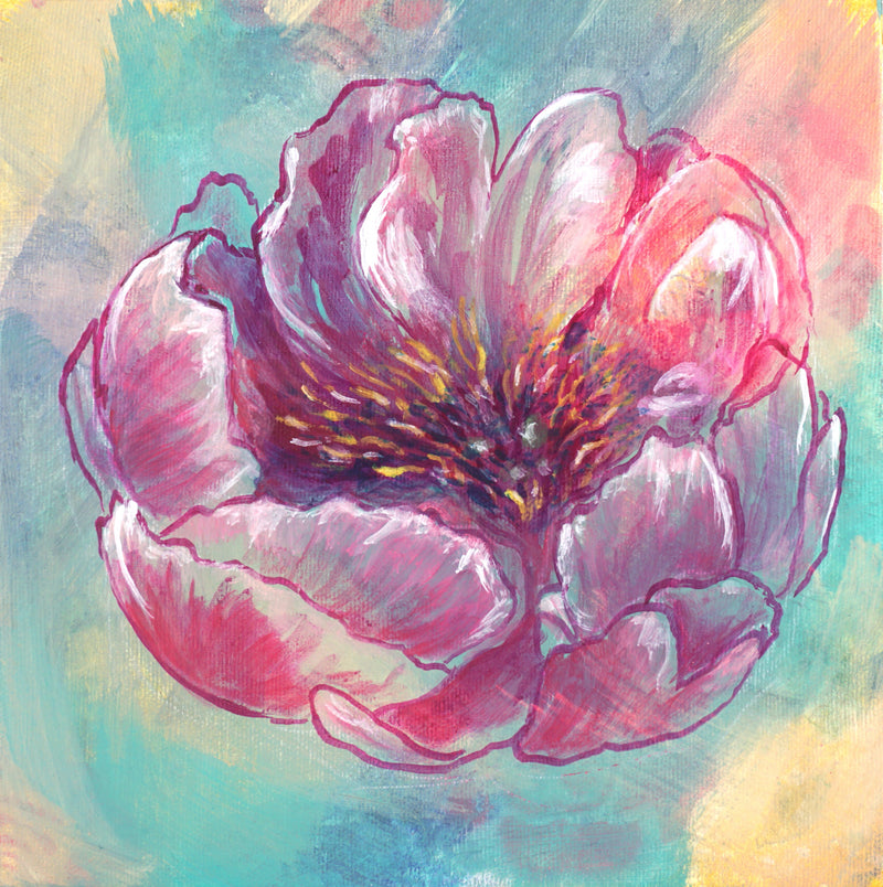 SINGLE PEONY | 8x8 | ORIGINAL ACRYLIC PAINTING ON CANVAS | Item number 20-9P