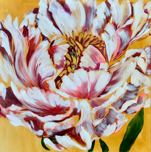 WHITE PEONY ON YELLOW | 24x24 | ORIGINAL ACRYLIC PAINTING ON CANVAS | Item number 10-2P