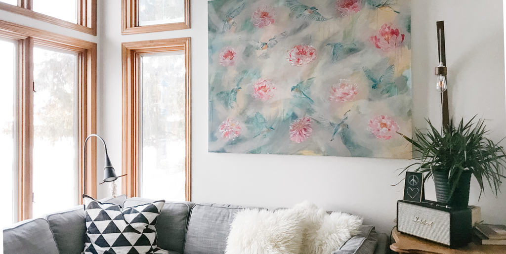 PEONIES AND BLUEBIRDS | 48x60 | ORIGINAL ACRYLIC PAINTING ON CANVAS | Item number 20-2P
