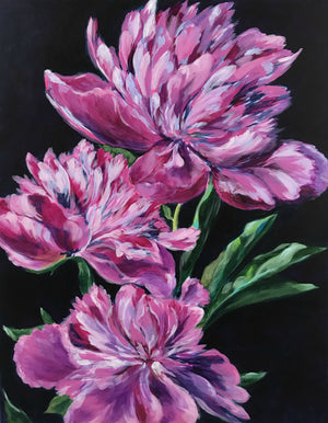 THREE PINK PEONIES | 22x28 | ORIGINAL ACRYLIC PAINTING ON CANVAS | Item number 19-1P