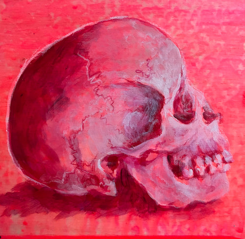 SKULL STUDY | 5X5 | ORIGINAL ACRYLIC PAINTING ON WOOD | Item number 20-35P
