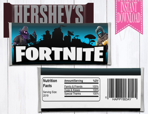FORTNITE HERSHEY BAR LABEL