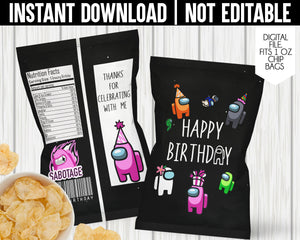AMONG US CHIP BAG- INSTANT DOWNLOAD