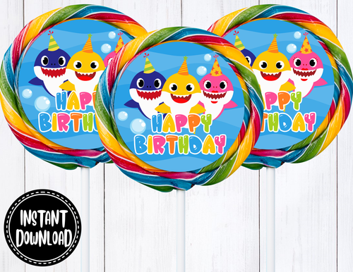 BABY SHARK JUMBO LOLLIPOP LABELS- DIGITAL