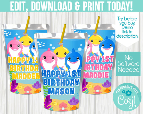 EDIT YOURSELF- CUTE SHARK JUICE POUCH LABELS