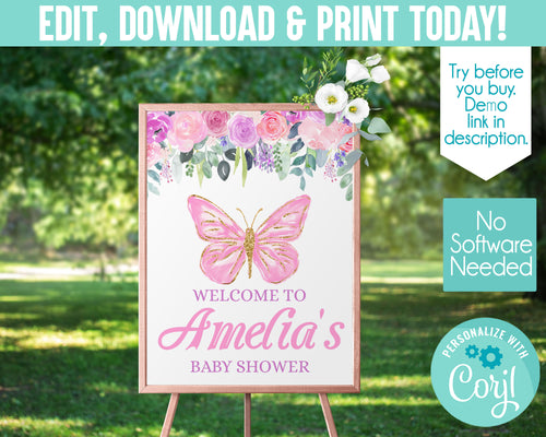 EDIT YOURSELF- BUTTERFLY POSTER WELCOME SIGN