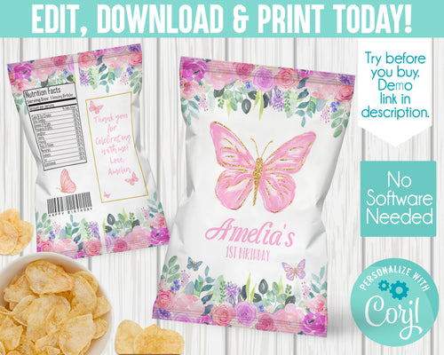 EDIT YOURSELF- BUTTERFLY BIRTHDAY CHIP BAG
