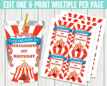 Load image into Gallery viewer, EDIT YOURSELF- CIRCUS/CARNIVAL JUICE POUCH LABELS