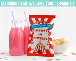 EDIT YOURSELF- CIRCUS/CARNIVAL JUICE POUCH LABELS