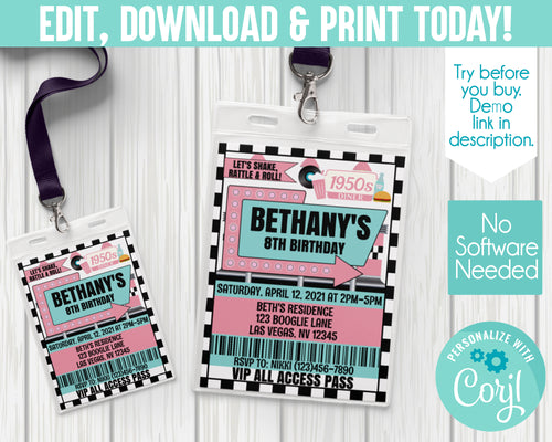 EDIT YOURSELF- Diner/ 50s/ Sock Hop Birthday Invites
