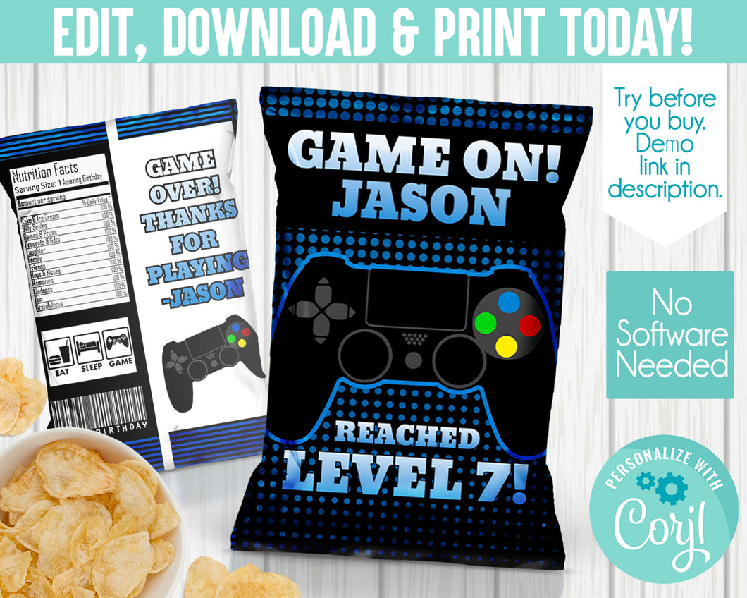 EDIT YOURSELF- BLUE GAMER CHIP LABEL