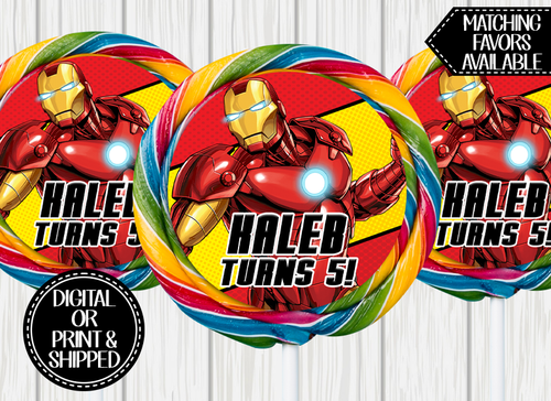 IRON MAN SWIRL LOLLIPOP LABELS