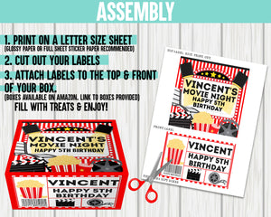 EDIT YOURSELF- MOVIE NIGHT BOX LABELS
