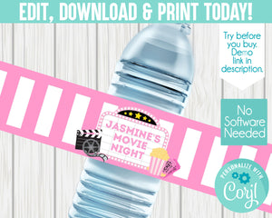 EDIT YOURSELF- PINK MOVIE WATER LABEL