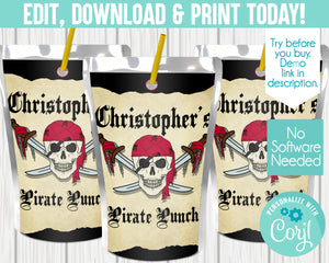 EDIT YOURSELF- PIRATE JUICE POUCH LABELS