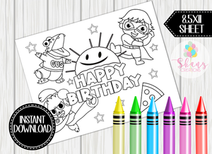 RYAN'S WORLD PLACEMAT COLORING SHEET- DIGITAL FILE