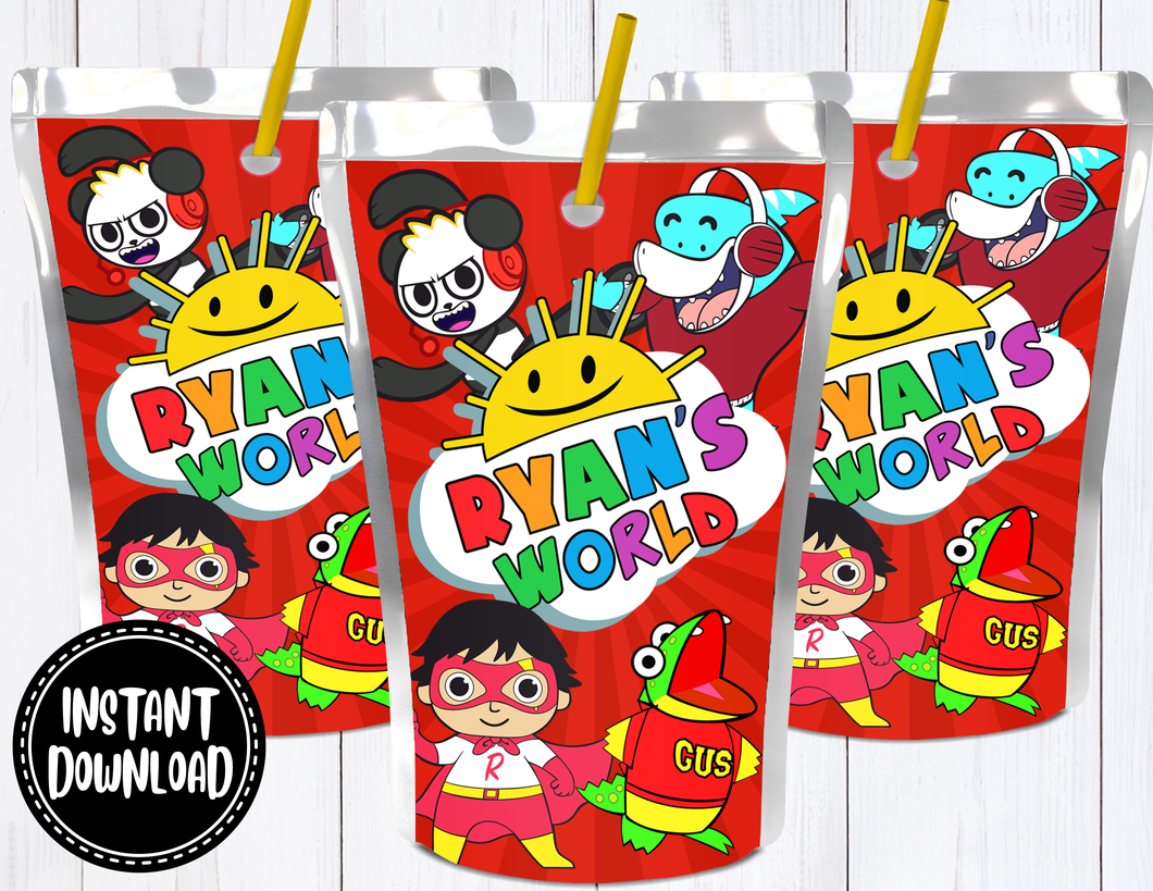 RYAN'S WORLD JUICE POUCH LABELS- DIGITAL ONLY