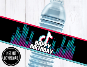 TIK TOK WATER BOTTLE LABEL- INSTANT DOWNLOAD