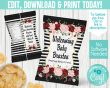 Load image into Gallery viewer, EDIT YOURSELF- BLACK WHITE STRIPE BABY SHOWER CHIP BAG