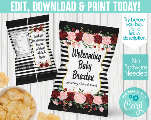 EDIT YOURSELF- BLACK WHITE STRIPE BABY SHOWER CHIP BAG