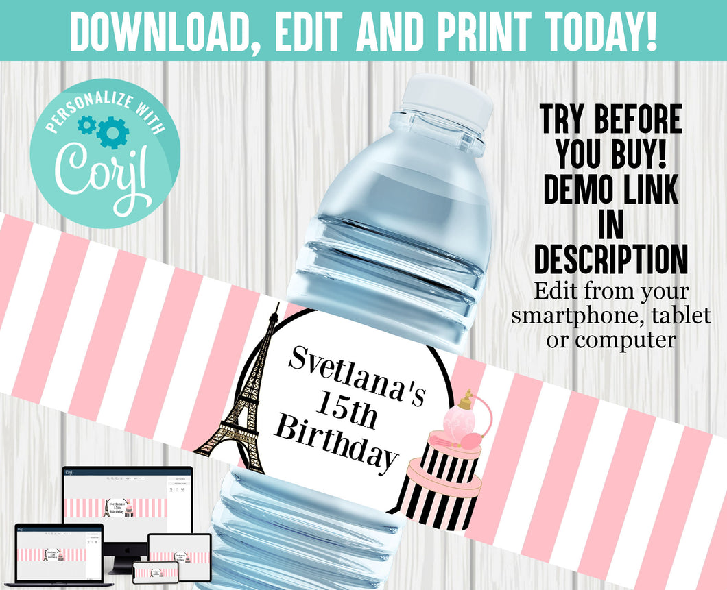 EDITABLE PARIS WATER LABEL- DIY