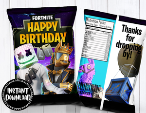 Fortnite Chip bag- INSTANT DOWNLOAD
