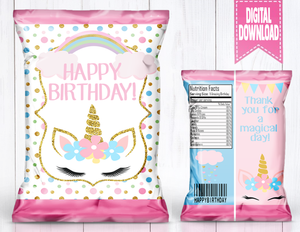 Unicorn Theme Chip Bag -DIGITAL