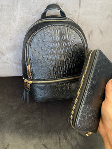 Paola Croc Print Backpack