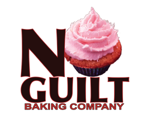 Text says No Guilt Baking Company, the 0 in NO is a cupcake
