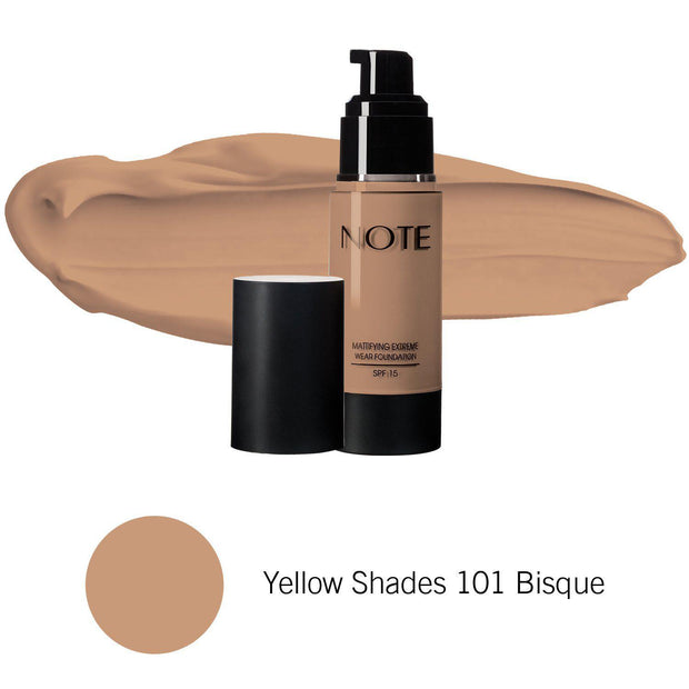 Mattifying Extreme Wear Foundation-NOTE-Yellow Shades 101 Bisque-Note Beauty
