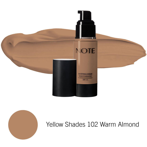 Mattifying Extreme Wear Foundation-NOTE-Yellow Shades 102 Warm Almond-Note Beauty