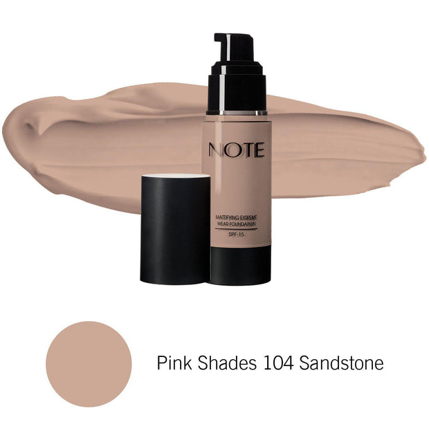 Mattifying Extreme Wear Foundation-NOTE-Pink Shades 104 Sandstone-Note Beauty