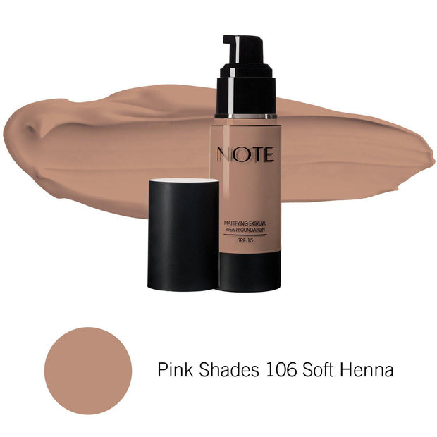 Mattifying Extreme Wear Foundation-NOTE-Pink Shades 106 Soft Henna-Note Beauty