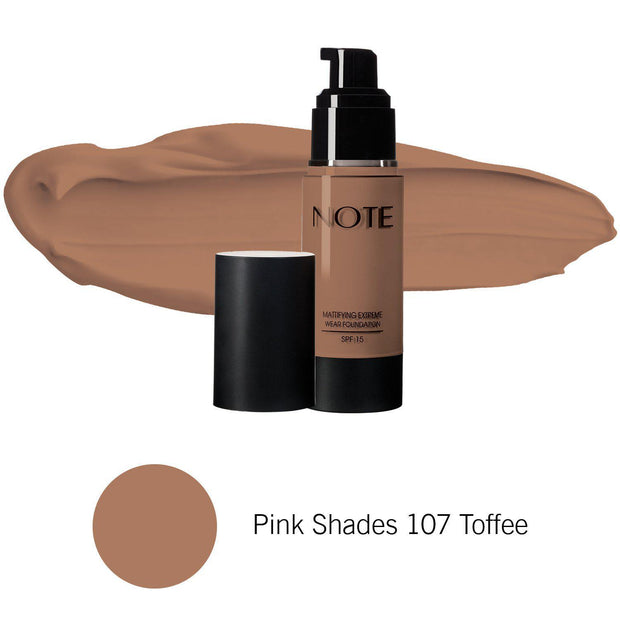 Mattifying Extreme Wear Foundation-NOTE-Pink Shades 107 Toffee-Note Beauty