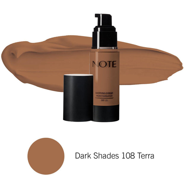 Mattifying Extreme Wear Foundation-NOTE-Dark Shades 108 Terra-Note Beauty