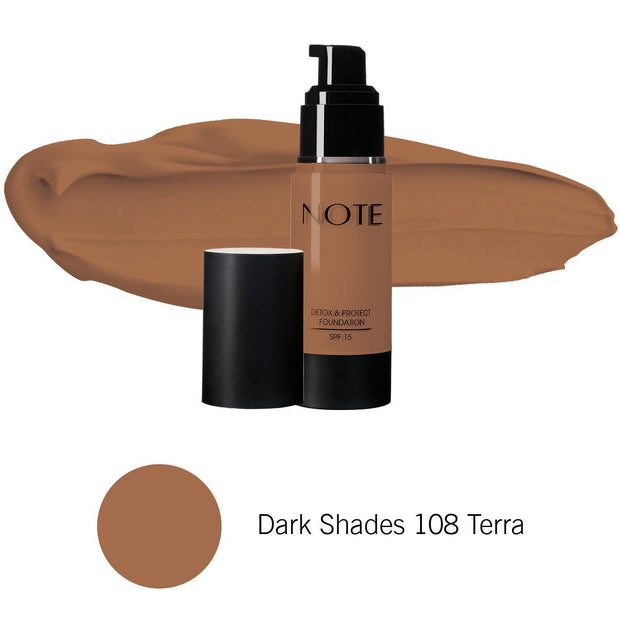 Detox & Protect Foundation-NOTE-Dark Shades 108 Terra-Note Beauty