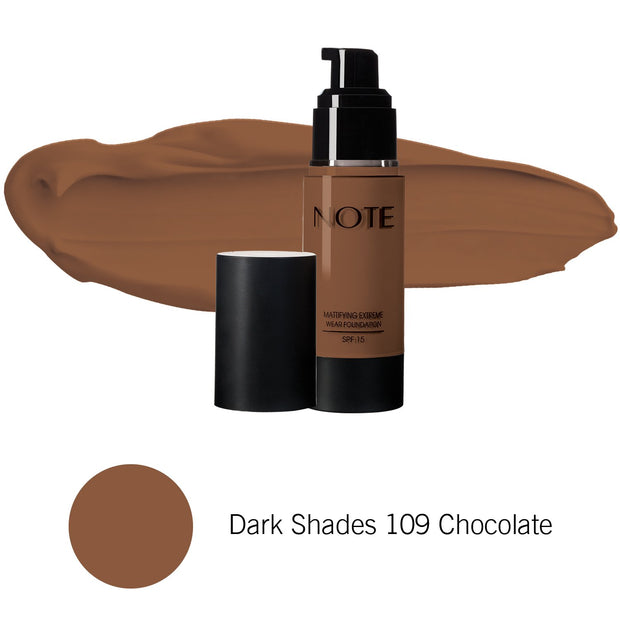 Mattifying Extreme Wear Foundation-NOTE-Dark Shades 109 Chocolate-Note Beauty