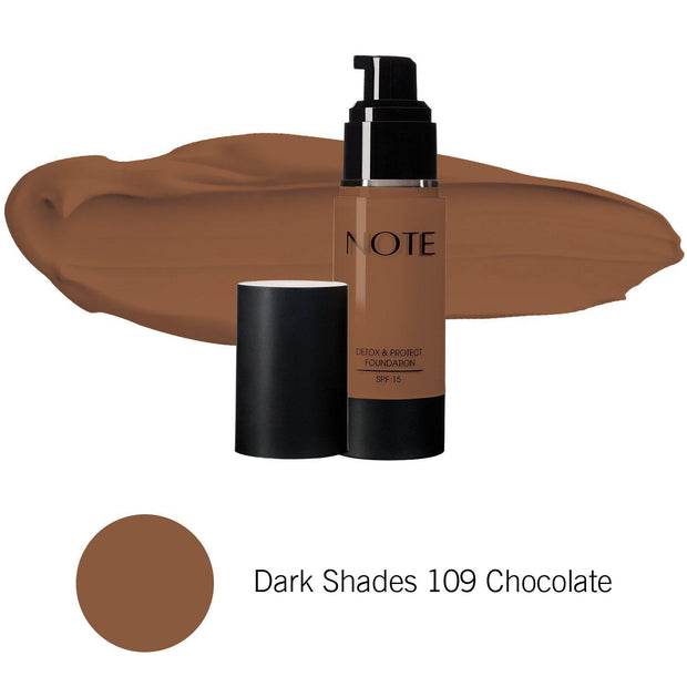 Detox & Protect Foundation-NOTE-Dark Shades 109 Chocolate-Note Beauty