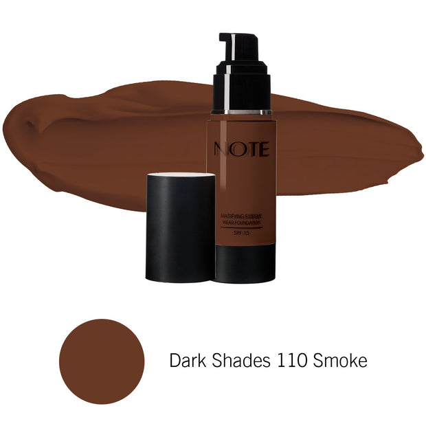 Mattifying Extreme Wear Foundation-NOTE-Dark Shades 110 Smoke-Note Beauty