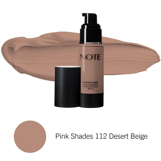 Mattifying Extreme Wear Foundation-NOTE-Pink Shades 112 Desert Beige-Note Beauty