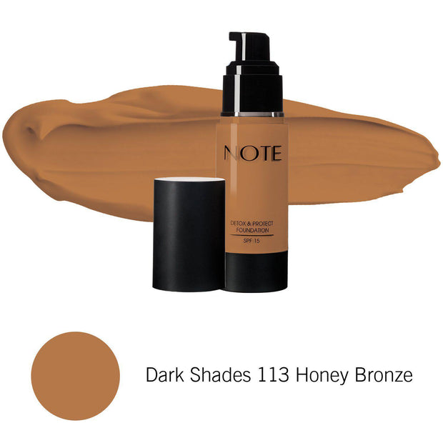 Detox & Protect Foundation-NOTE-Dark Shades 113 Honey Bronze-Note Beauty