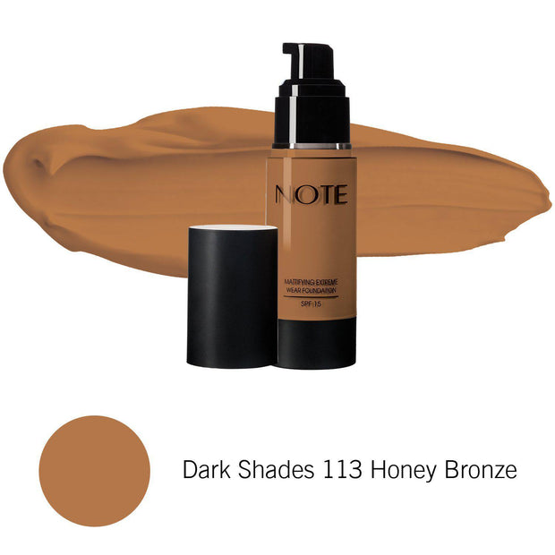 Mattifying Extreme Wear Foundation-NOTE-Dark Shades 113 Honey Bronze-Note Beauty