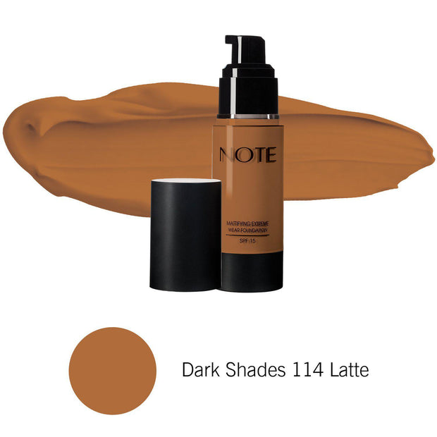Mattifying Extreme Wear Foundation-NOTE-Dark Shades 114 Latte-Note Beauty