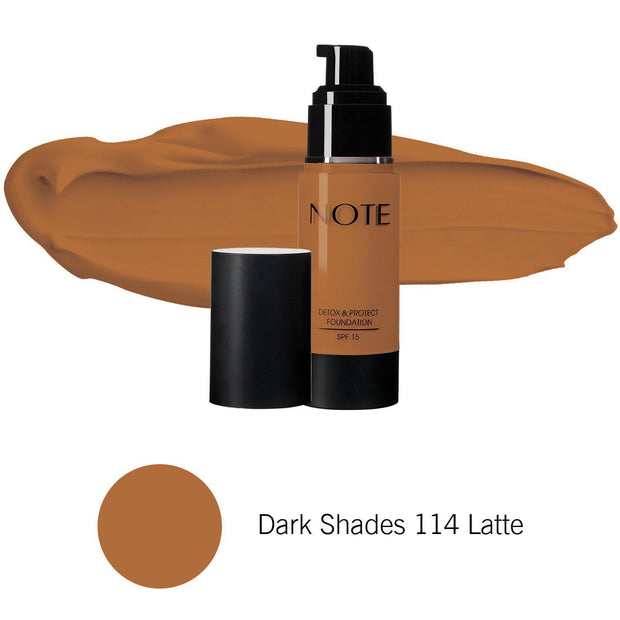 Detox & Protect Foundation-NOTE-Dark Shades 114 Latte-Note Beauty