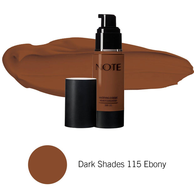 Mattifying Extreme Wear Foundation-NOTE-Dark Shades 115 Ebony-Note Beauty