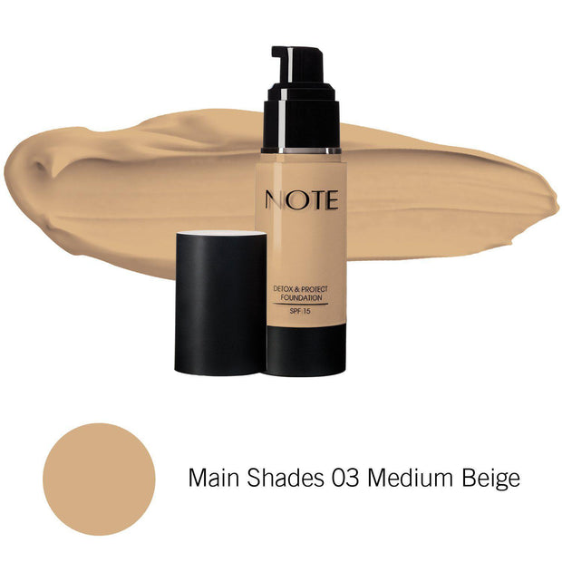 Detox & Protect Foundation-NOTE-Main Shades 03 Medium Beige-Note Beauty