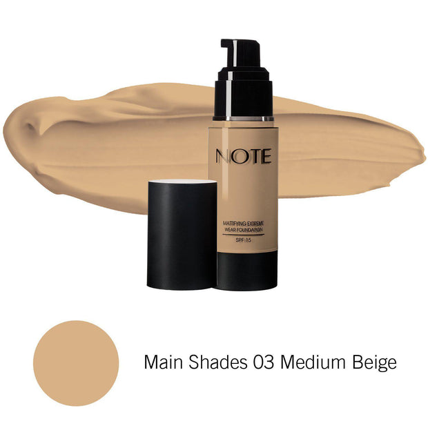 Mattifying Extreme Wear Foundation-NOTE-Main Shades 03 Medium Beige-Note Beauty
