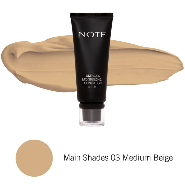 Luminous Moisturizing Foundation-NOTE-Main Shades 03 Medium Beige-Note Beauty
